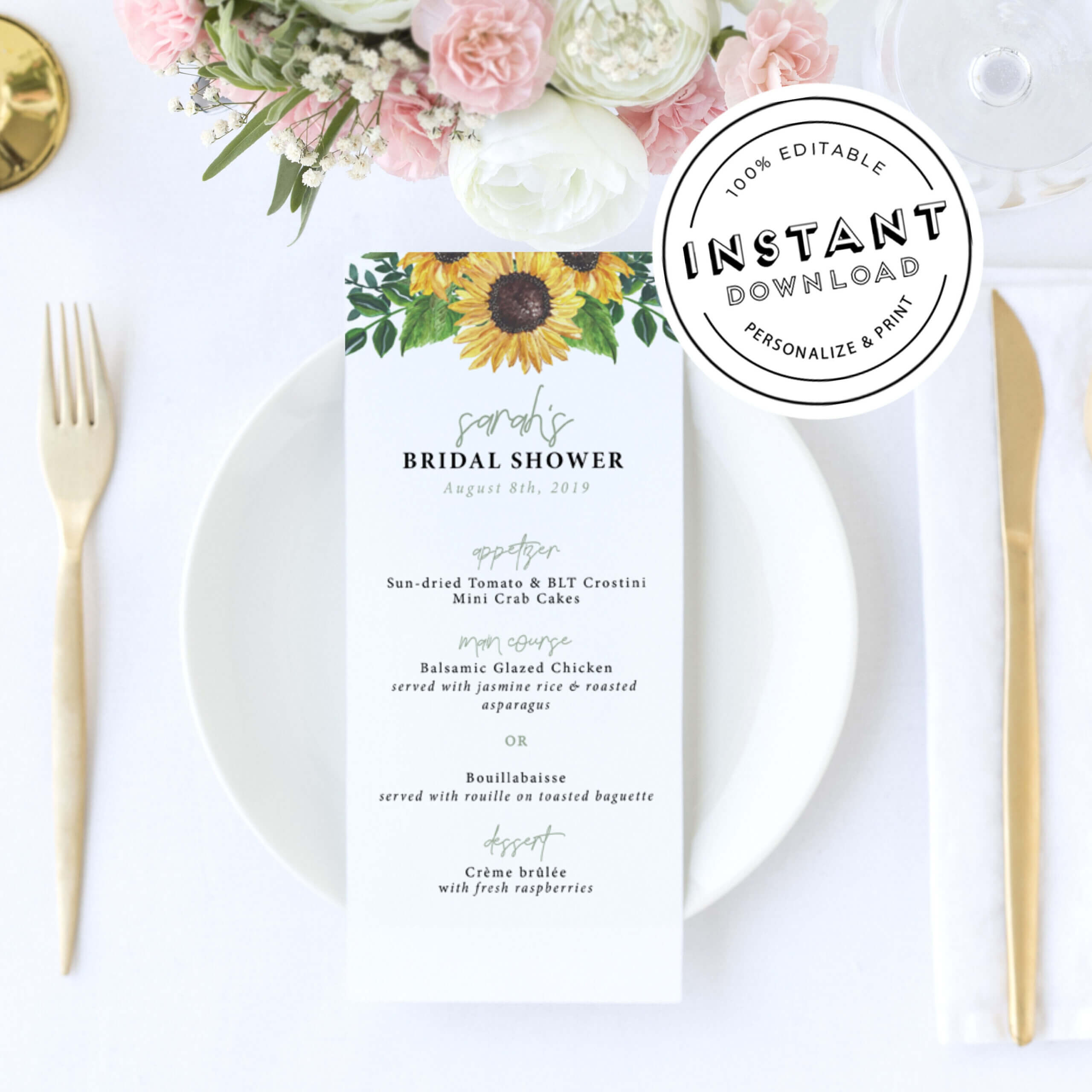 Sunflower Wedding Menu | Rustic Sun Flower Bridal Shower Menu | Menu  Template Diy Download | Wedding Menu | Bridal Shower Menu Editable For Bridal Shower Menu Template