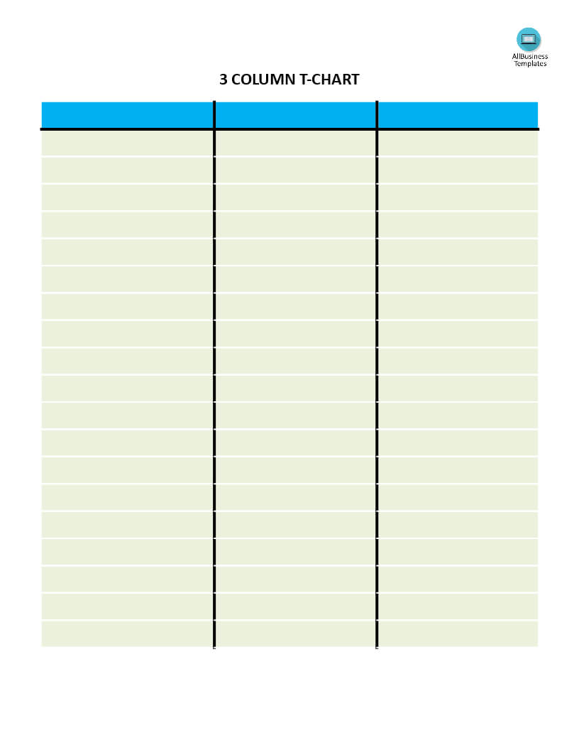 T Chart With 3 Columns | Templates At Allbusinesstemplates With 3 Column Word Template