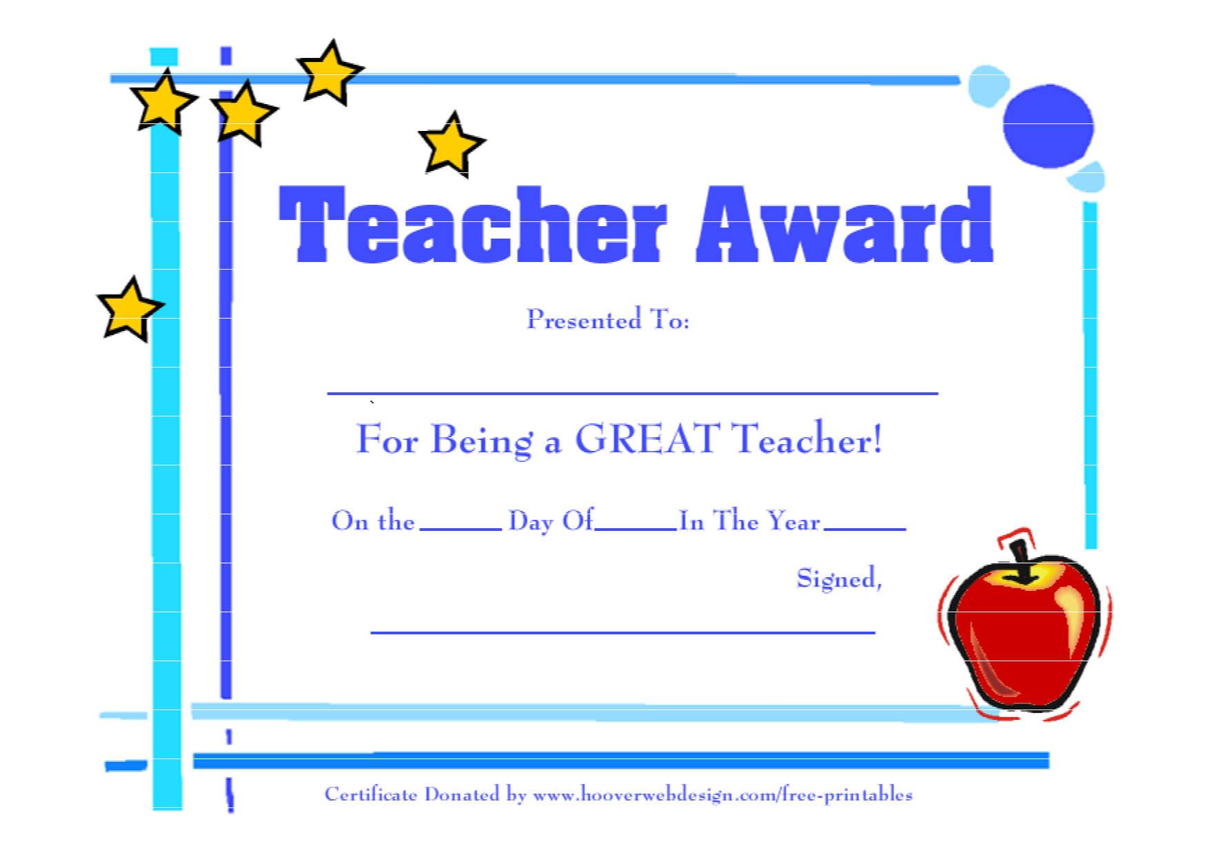 Teacher Awards 9 New Certificat Templates Throughout Best Teacher Certificate Templates Free