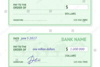 Template Blank Classic Bank Check Business Stock Vector with regard to Blank Business Check Template