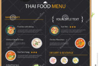 Thai Food Restaurant Menu Template Flat Design Stock Vector inside Asian Restaurant Menu Template
