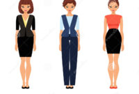 Three Business Women In Office Clothes Stock Vector regarding Business Attire For Women Template