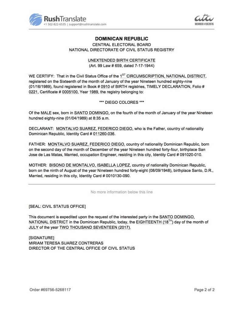 Translation Services Regarding Birth Certificate Translation Template Uscis