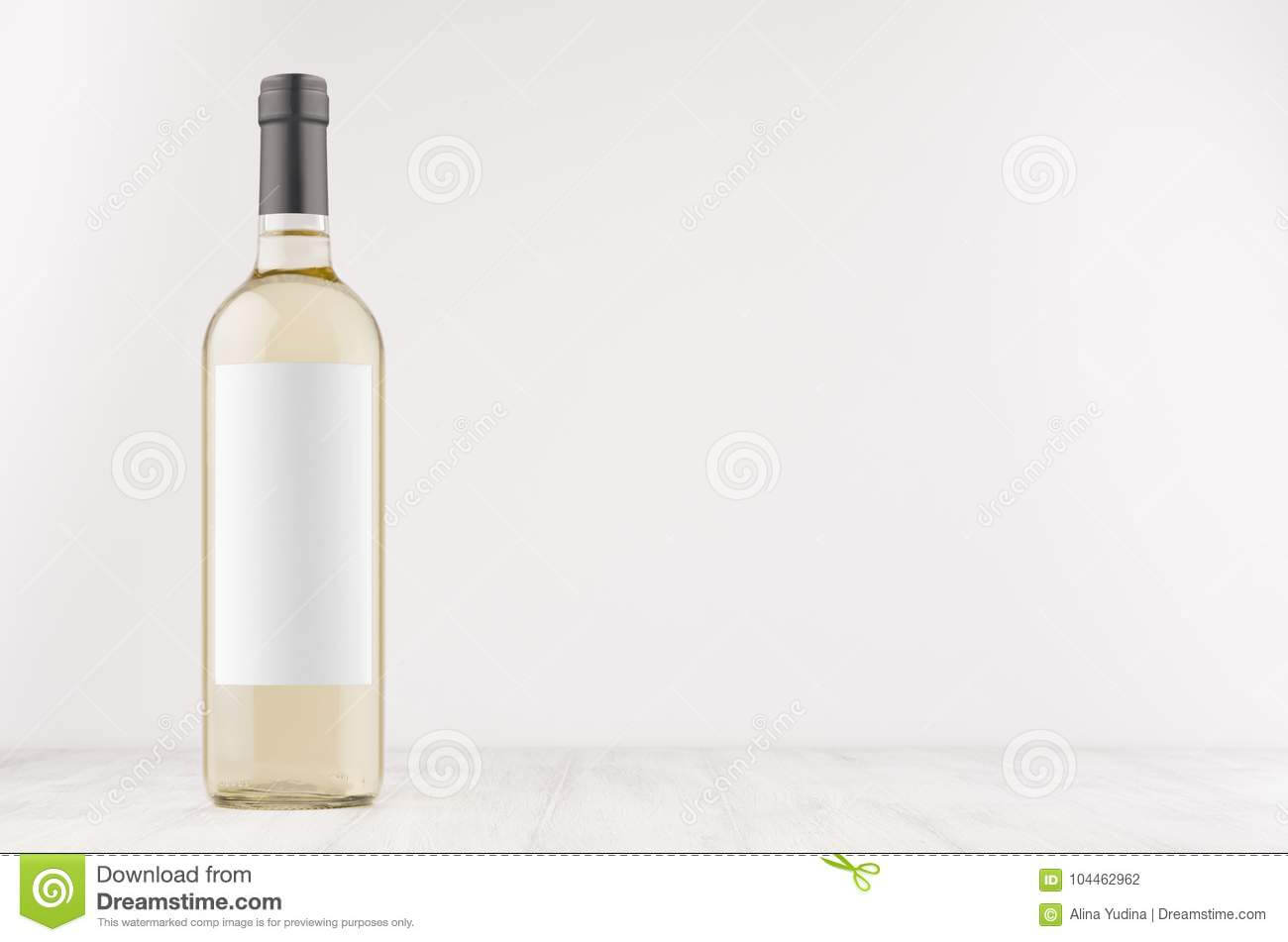 Transparent White Wine Bottle With Blank White Label On Pertaining To Blank Wine Label Template