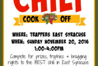 Trappers 2Nd Annual Chili Cook-Off – Trappers Pizza Pub inside Chili Cook Off Flyer Template