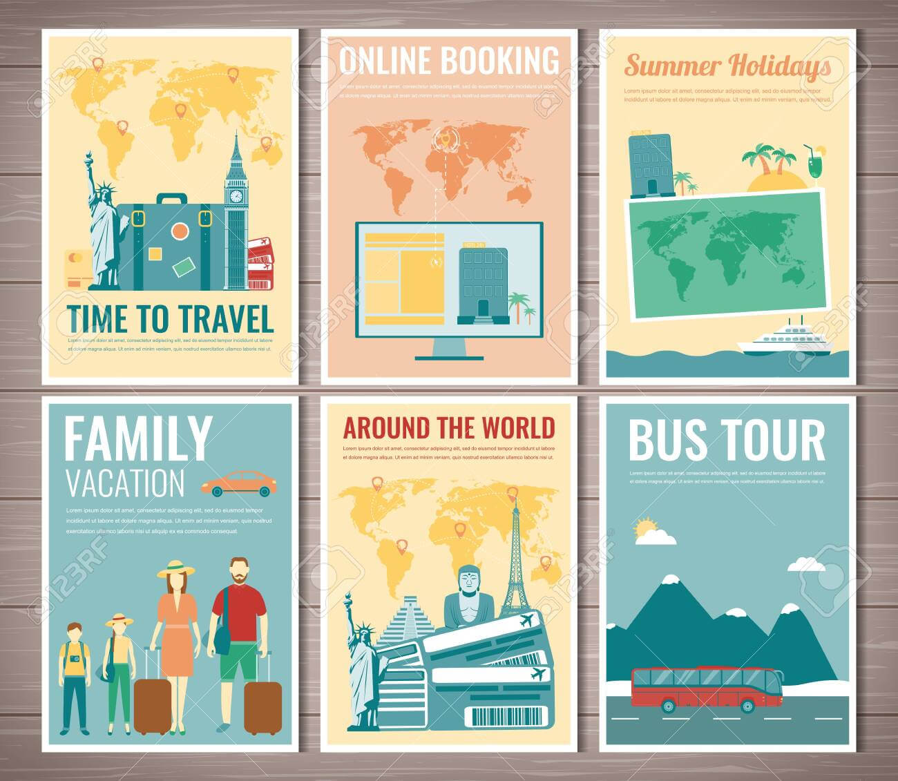Travel And Tourism Brochure Set. Template Of Magazine, Poster,.. Within Bus Trip Flyer Templates Free