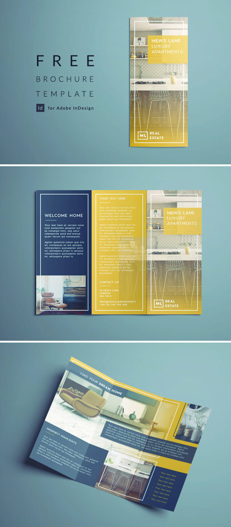 Tri Fold Brochure | Free Indesign Template With Brochure Templates Free Download Indesign