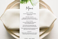 Tropical Menu Card Template, Dinner Menu For Wedding in Baby Shower Menu Template Free