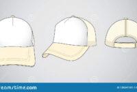 Trucker Cap For Template Vector : White / Cream Stock regarding 5 Panel Hat Template
