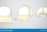 Trucker Cap For Template Vector : White / Cream Stock with regard to 5 Panel Hat Template