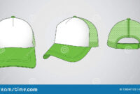 Trucker Cap For Template Vector : White / Green Stock with regard to 5 Panel Hat Template