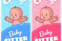 Two Vertical Flyer Of Babysitter With Cute Toddler And Baby within Babysitting Flyer Free Template