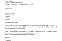 Two Weeks Notice Letter Sample Resignation 2 Ndash Every within 2 Week Notice Letter Template
