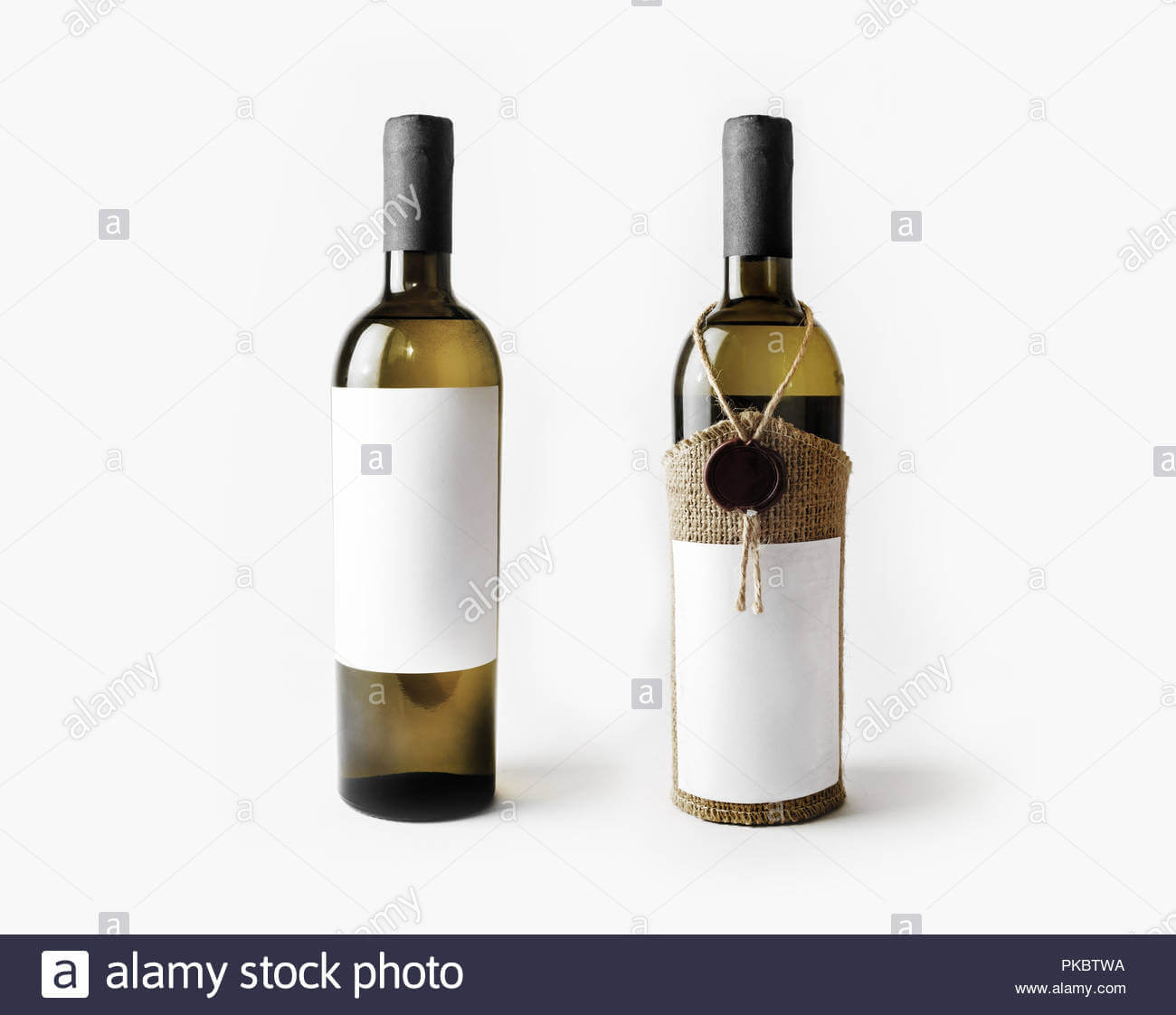 Two Wine Bottles With Blank Labels. Template For Placing In Blank Wine Label Template