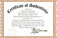 Unique Certificate Of Authenticity Template Free Ideas Fine throughout Certificate Of Authenticity Photography Template