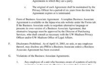 University Of Wisconsin-Madison Policy And Procedure with regard to Business Associate Agreement Template