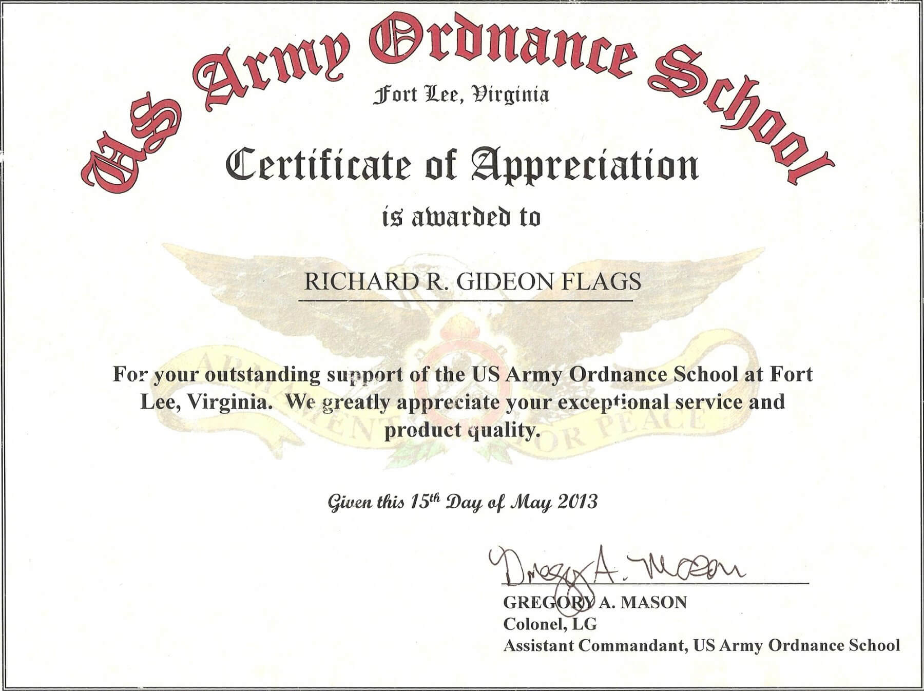 Us Army Certificate Of Achievement Template Intended For Certificate Of Achievement Army Template