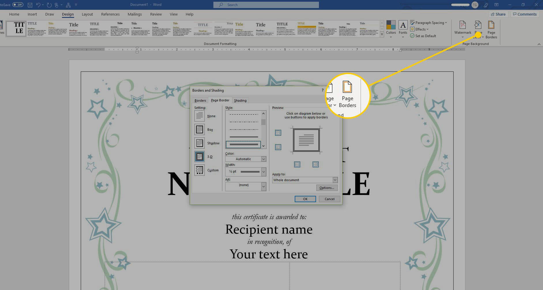 Using A Certificate Template In Microsoft Word Within Button Template For Word