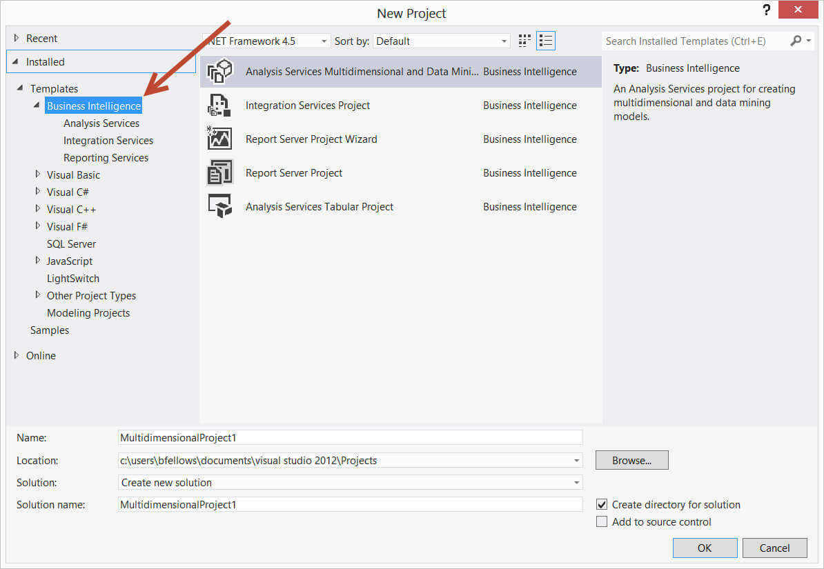 Using Ssis Bids With Visual Studio 2012 / 2013 - Stack Overflow Intended For Business Intelligence Templates For Visual Studio 2010
