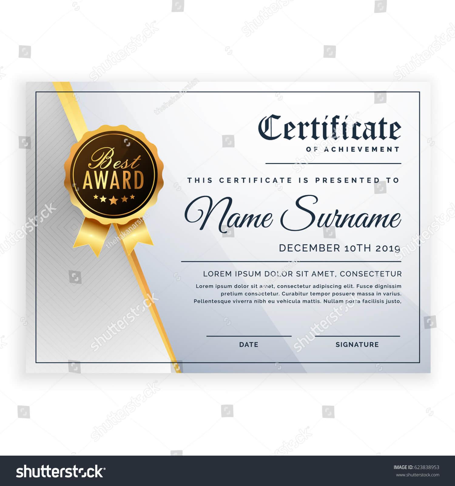 Vector Certificate Template Beautiful Certificate Template With Regard To Beautiful Certificate Templates