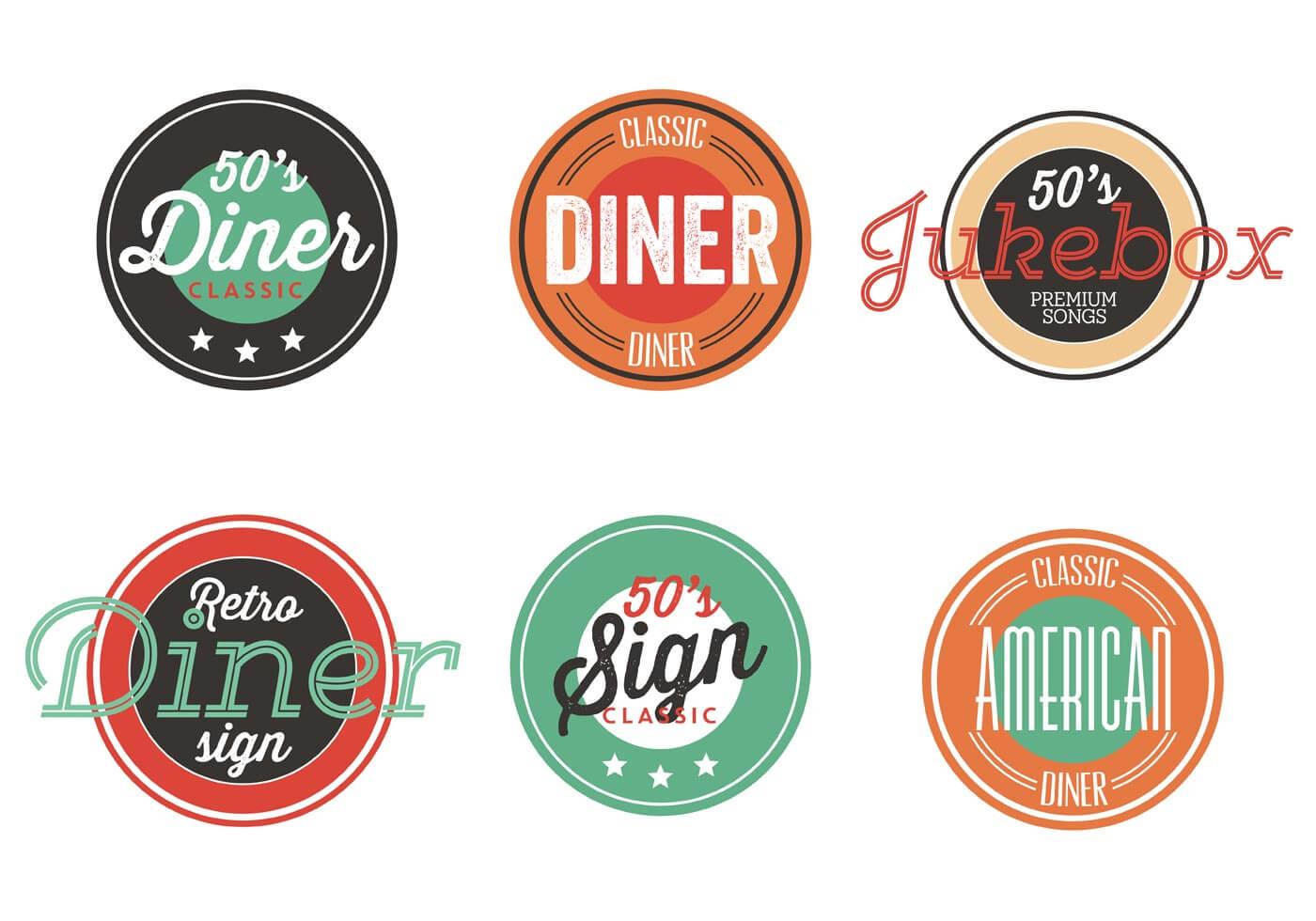 Vintage 50S Diner Label Collection - Download Free Vectors In 50S Diner Menu Template