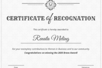 Vintage Certificate Of Recognition Template throughout Certificates Of Appreciation Template