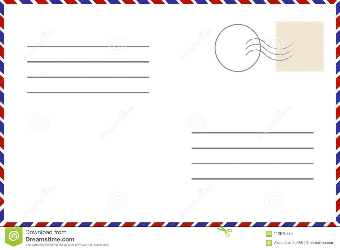 Vintage Postcard. Old Template. Retro Airmail Envelope With Inside Airmail Postcard Template