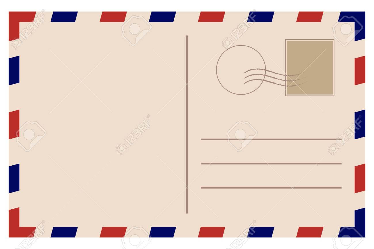 Vintage Postcard. Old Template. Retro Airmail Envelope With Stamp With Regard To Airmail Postcard Template