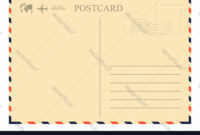 Vintage Postcard Template Retro Airmail Envelope within Airmail Postcard Template
