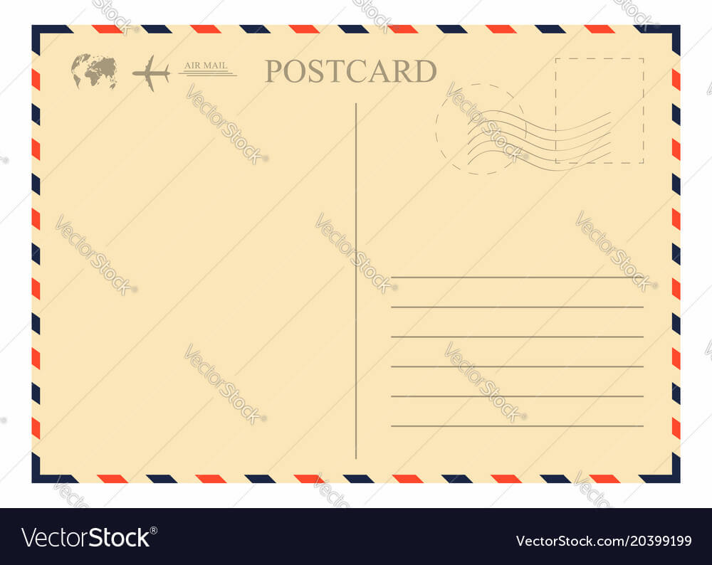 Vintage Postcard Template Retro Airmail Envelope Within Airmail Postcard Template