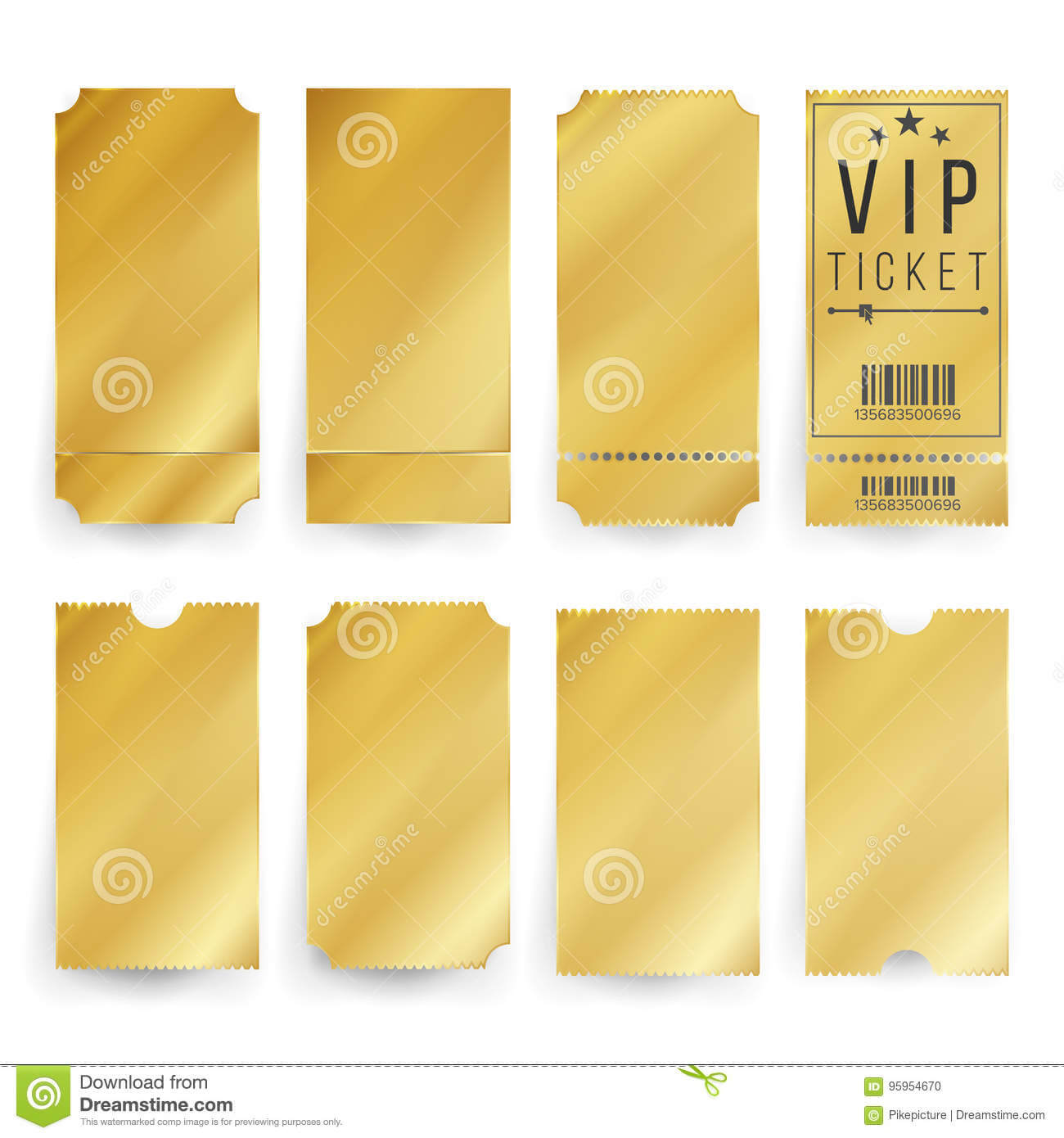 Vip Ticket Template Vector. Empty Golden Tickets And Coupons Throughout Blank Train Ticket Template