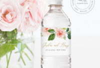Water Bottle Label Template, Instant Download, Printable in Bridal Shower Label Templates