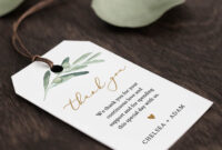 Wedding Favor Tag Template, Thank You Tag, Greenery in Bridal Shower Label Templates