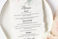 Wedding Menu, Printable Menu Template, Editable Menu Template, Bridal  Shower Menu 5X7 Menu, Baby Shower Menu, Floral Menu, Sunrise Wisdom with regard to Bridal Shower Menu Template