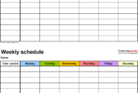 Weekly Activity Calendar Template – Yerde with Blank Activity Calendar Template