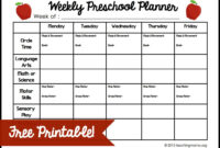Weekly Preschool Planner {Free Printable} with regard to Blank Preschool Lesson Plan Template