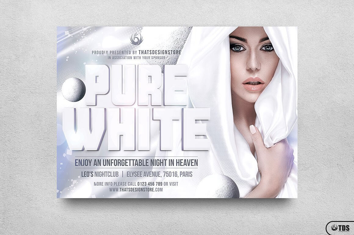White Party Flyer Template V3 | Free Posters Design For Photoshop With All White Party Flyer Template Free