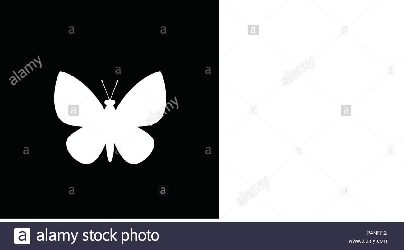 White Silhouette Of Butterfly Isolated On Black Background With Regard To Butterfly Labels Templates