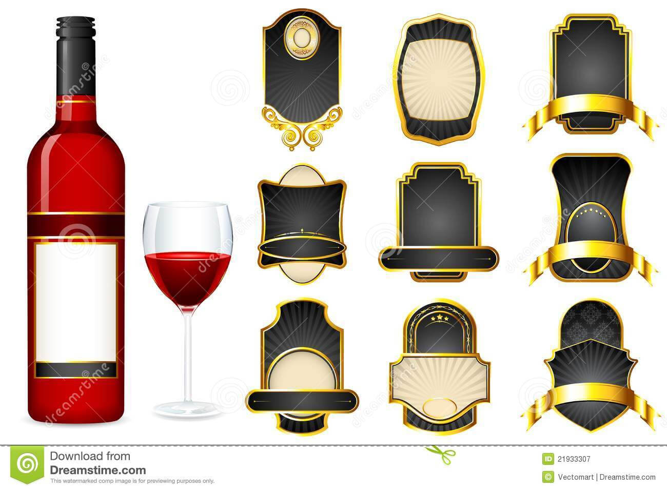 Wine Bottle With Different Blank Label Stock Illustration Pertaining To Blank Wine Label Template