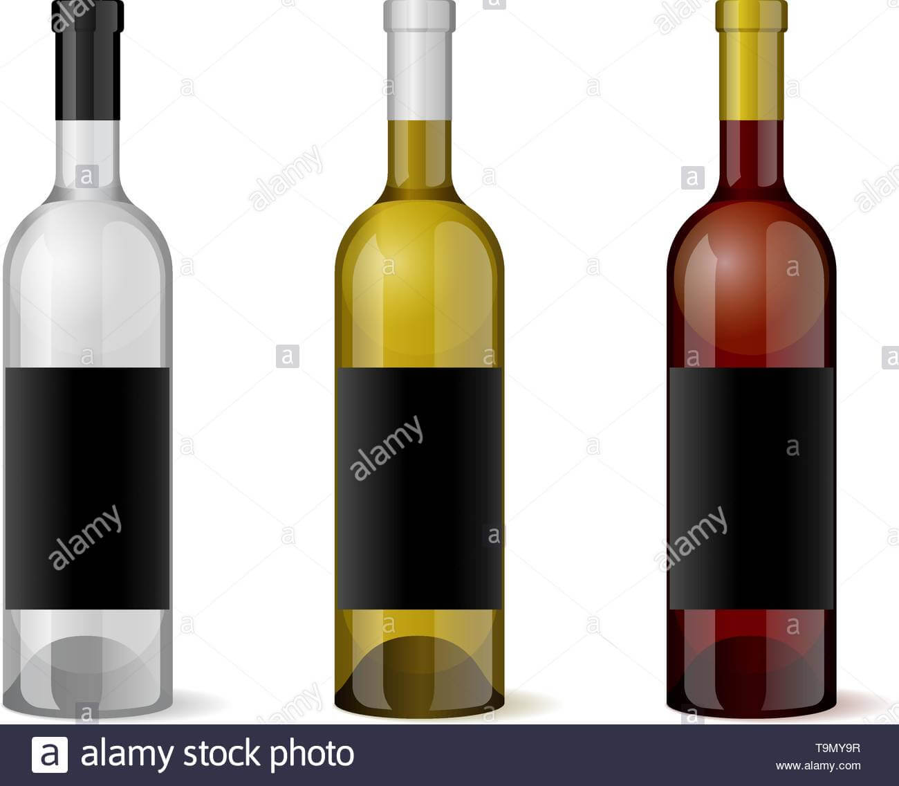 Wine Realistic 3D Bottle With Blank Black Label Template Set Throughout Blank Wine Label Template