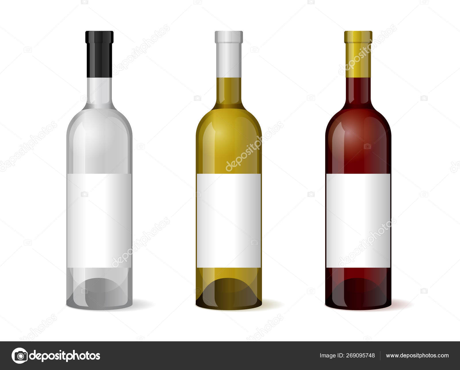 Wine Realistic 3D Bottle With Blank White Label Template Set With Blank Wine Label Template