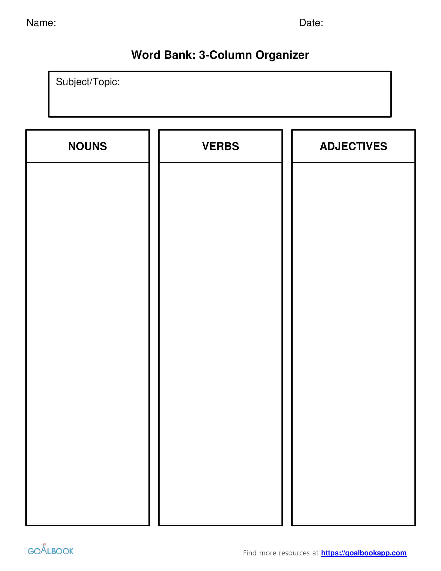 Word Bank | Udl Strategies - Goalbook Toolkit Inside 3 Column Word Template