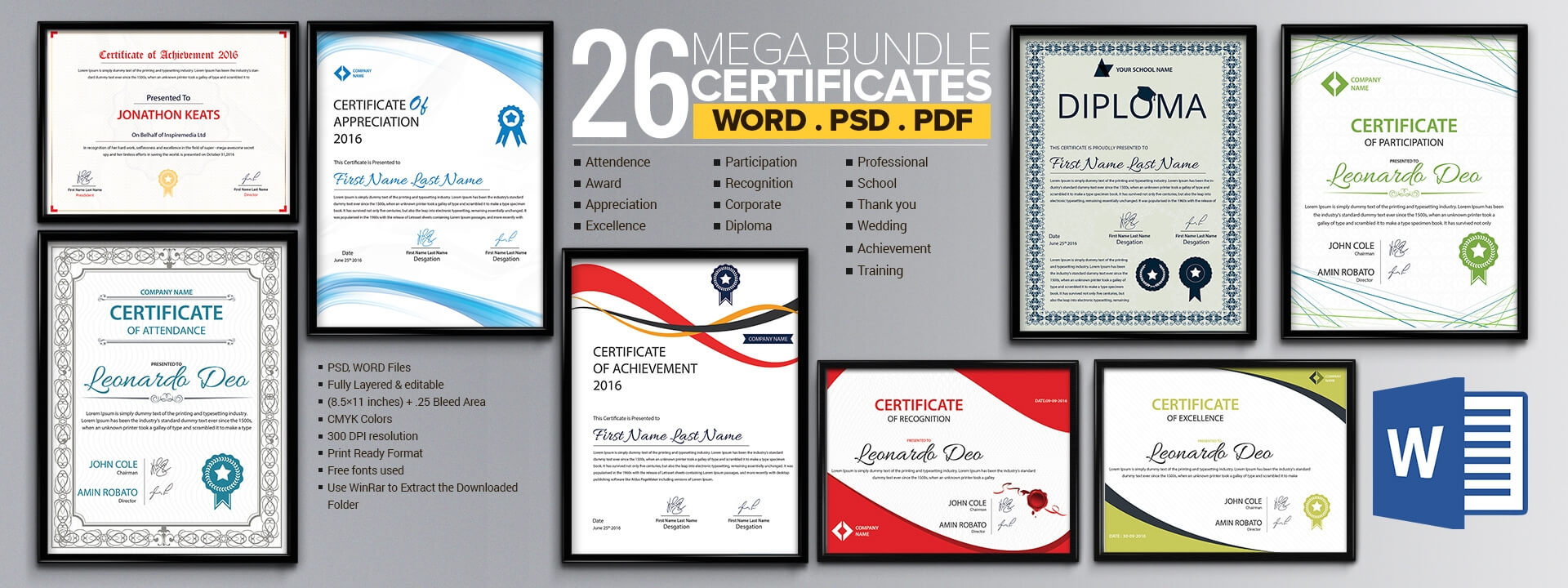 Word Certificate Template - 53+ Free Download Samples Regarding Blank Award Certificate Templates Word