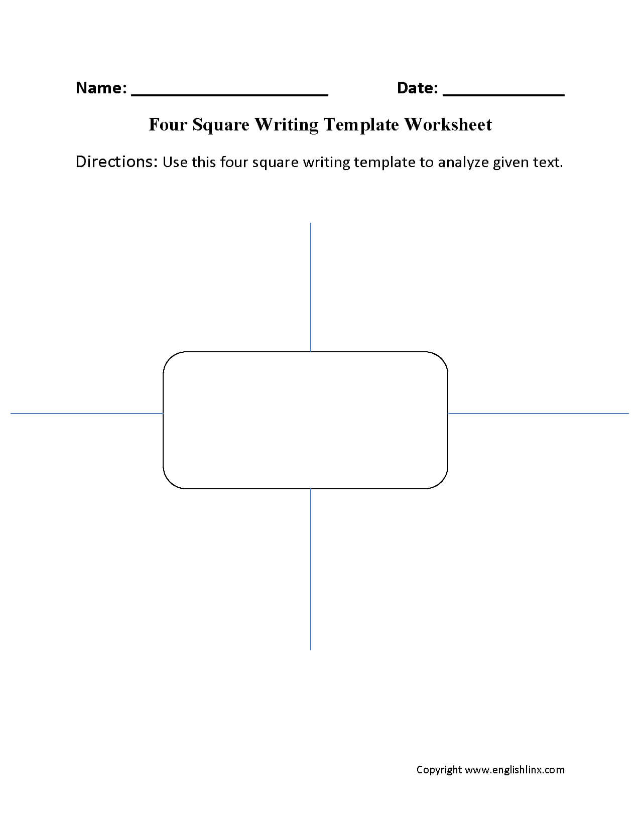 Writing Template Worksheets | Four Square Writing Template For Blank Four Square Writing Template