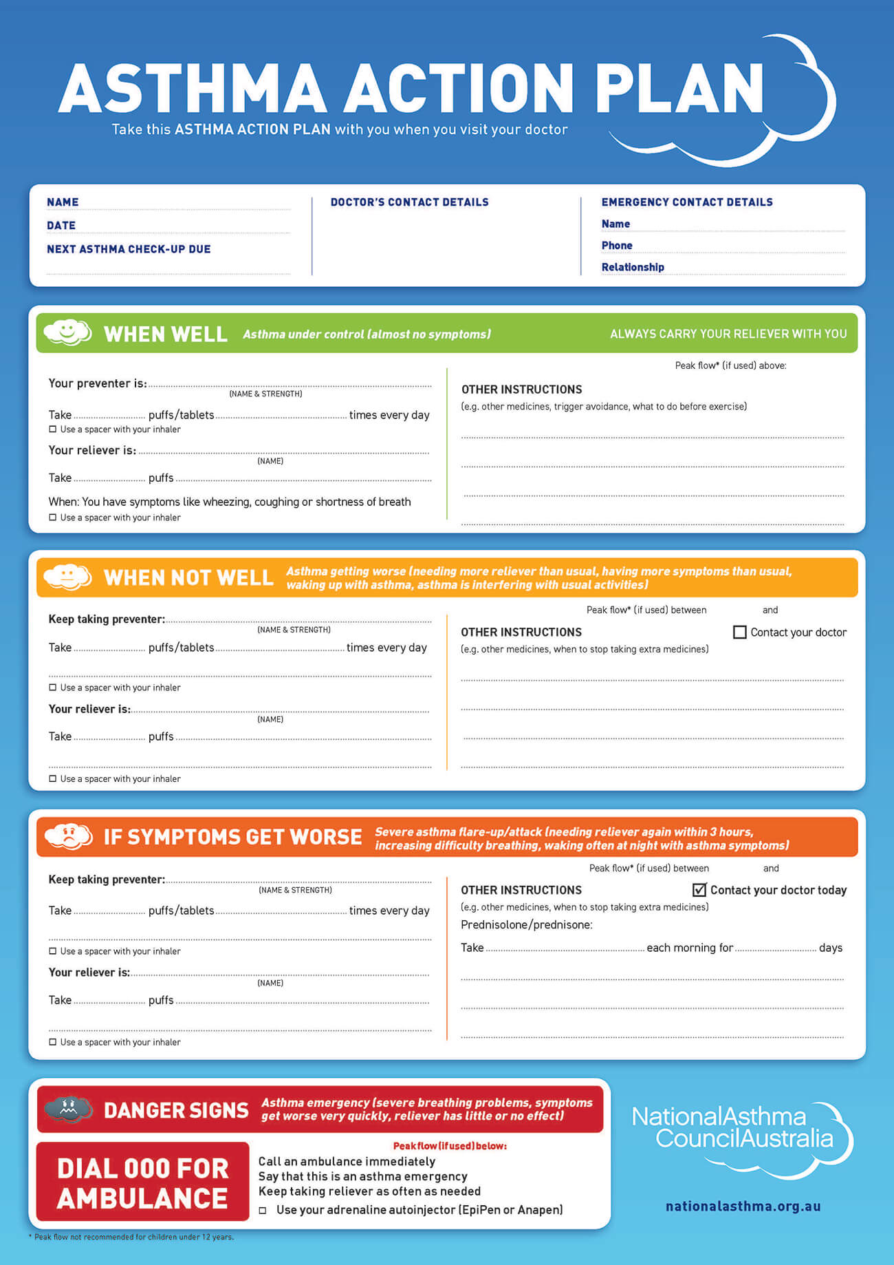 Written Asthma Action Plan | Severe Asthma Toolkit Within Asthma Action Plan Template